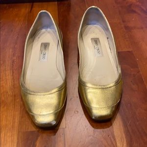 Jimmy Choo square toe gold flats, Size 38.5